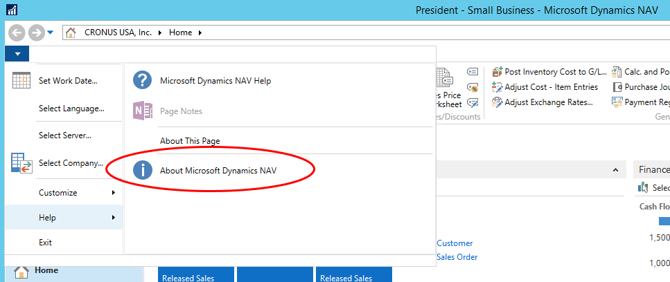Microsoft Dynamics RoleTailored Client Application Menu